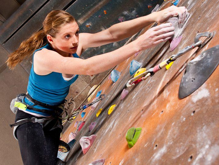 Teenage Girl Climbing at a indoors Climbing Gym - Shot at Utahlypse 2011